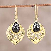 Gold plated onyx dangle earrings, 'Glimmering Leaves'