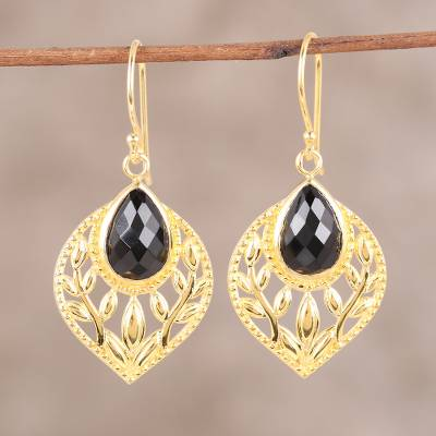 Gold plated onyx dangle earrings, 'Glimmering Leaves' - Gold Plated Faceted Black Onyx Openwork Leaf Dangle Earrings