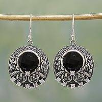 Onyx dangle earrings, 'Midnight Pools' - Handmade Black Onyx Sterling Silver Earrings from India