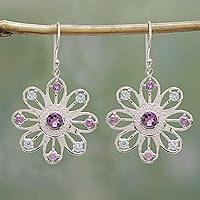 Amethyst and blue topaz dangle earrings, 'Sparkling Petals' - Amethyst and Blue Topaz Dangle Earrings from India