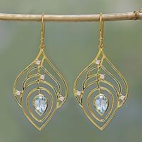 Gold plated blue topaz dangle earrings, 'Golden Veins' - Gold Plated Blue Topaz Dangle Earrings from India