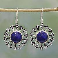 Lapis lazuli dangle earrings, 'Glistening Blossoms' - Lapis Lazuli and Sterling Silver Dangle Earrings from India