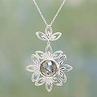 Labradorite pendant necklace, 'Natural Flower' - Labradorite and Sterling Silver Pendant Necklace from India