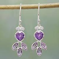 Amethyst dangle earrings, 'Lilac Glitter' - Amethyst and Sterling Silver Dangle Earrings from India