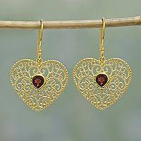 Gold plated garnet dangle earrings, 'Heart Vines' - Gold Plated Garnet Heart Dangle Earrings from India