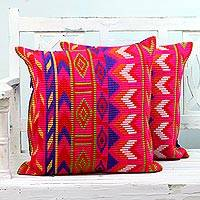 Cotton cushion covers, 'Geometric Fascination' (pair) - Two Cotton Cushion Covers with Geometric Motifs from India