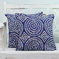 Cotton cushion covers, 'Spheres and Diamonds' (pair) - Pair of Cotton Cushion Covers with Shapes from India
