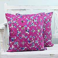 Cotton cushion covers, 'Majestic Magenta' (pair) - Two Cotton Applique Cushion Covers in Magenta from India