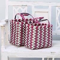 Recycled plastic baskets, 'Eco-Friendly Picnic' (pair) - Two Handwoven Recycled Plastic Baskets from India