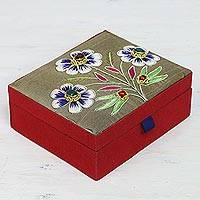 Cotton jewelry box, 'Noble Flowers' - Cotton Jewelry Box in Taupe with Beaded Floral Motifs