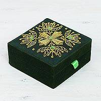 Beaded jewelry box, 'Forest Glamour' - Floral Beaded Jewelry Box in Forest Green from India