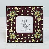 Beaded photo frame, 'Illuminated Memories' (3x3) - Cotton Photo Frame with Cultured Pearl from India (3x3)