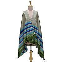 Silk shawl, 'Striped Harmony' - Striped Jacquard Fringed Silk Shawl in Sage from India