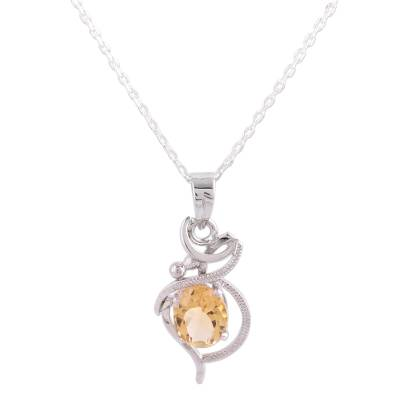 Citrine pendant necklace, 'Golden Radiance' - Indian Yellow Citrine and Sterling Silver Pendant Necklace