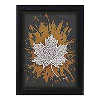 'Maple' - Signed Pop Art Painting of a Maple Leaf from India