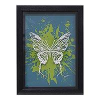 'Butterfly Spirit' - Signed Pop Art Shadow Box Butterfly Painting from India