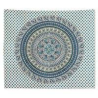Cotton wall hanging, 'Jungle Mandala in Blue' - Turquoise Blue Cotton Screen Printed Mandala Wall Hanging