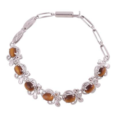 Tiger's eye tennis bracelet, 'Honey Buds' - Artisan Crafted 925 Silver Tennis Bracelet with Tiger's Eye
