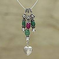 Aventurine and quartz pendant necklace, 'Romantic Tale' - Aventurine and Quartz Pendant Necklace from India