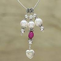 Cultured pearl and quartz pendant necklace, 'Romantic Story' - Cultured Pearl and Quartz Pendant Necklace from India