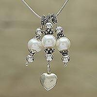 Cultured pearl pendant necklace, 'Tale of Love' - Cultured Pearl Heart-Shaped Pendant Necklace from India