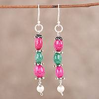 Quartz and aventurine dangle earrings, 'Vibrant Alliance' - Pink Dyed Quartz and Green Aventurine Silver Dangle Earrings