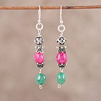 Quartz and aventurine dangle earrings, 'Crowned Harmony' - Green and Pink Quartz and Aventurine Dangle Earrings
