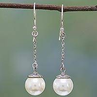 Cultured pearl dangle earrings, 'Luminous Drops' - Handmade Silver and Cultured Pearl Earrings from India