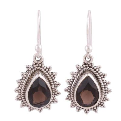 Smoky quartz dangle earrings, 'Smoky Drop' - Handmade Smoky Quartz and Silver Earrings from India