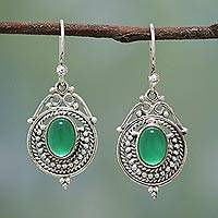 Green onyx dangle earrings, 'Jungle Queen' - Handmade Sterling Silver and Green Onyx Earrings from India