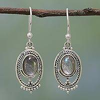 Labradorite dangle earrings, 'Iridescent Mirror' - Handcrafted Labradorite and Sterling Silver Dangle Earrings