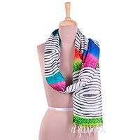 Hand painted silk scarf, 'Warm Rainbow' - Handwoven Silk Scarf with Rainbow Designs from India