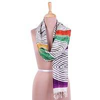 Hand painted silk scarf, 'Mesmerizing Rainbow' - Handwoven Silk Scarf with Colorful Motifs from India