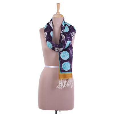 Hand painted silk scarf, 'Circle Dance in Boysenberry' - Silk Scarf in Turquoise and Boysenberry from India