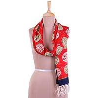 Hand painted silk scarf, 'Circle Dance in Crimson' - Handwoven Circle Motif Silk Scarf in Crimson from India