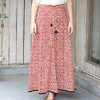 Cotton maxi skirt, 'Blissful Beauty'