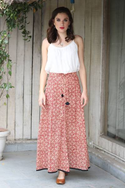 Cotton maxi skirt, 'Blissful Beauty' - Red and Ivory 100% Cotton Drawstring Skirt from India