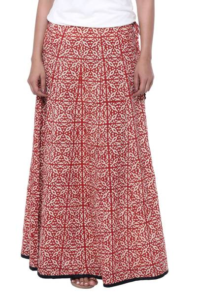 f1c6dfce3 Cotton maxi skirt, 'Blissful Beauty' - Red and Ivory 100% Cotton Drawstring