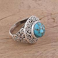 Sterling silver cocktail ring, 'Frozen Electricity' - Handmade Composite Turquoise Ring with Silver from India