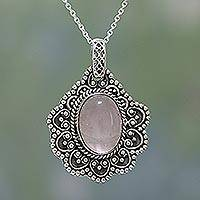 Rose quartz pendant necklace, 'Pretty in Pink' - Rose Quartz and Sterling Silver Pendant Necklace from India