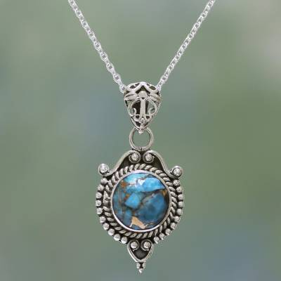 d9de09056 UNICEF Market | Sterling Silver and Composite Turquoise Necklace from India  - Dotted Elegance
