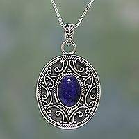 Lapis lazuli pendant necklace, 'Framed Blue' - Lapis Lazuli and Sterling Silver Pendant Necklace from India