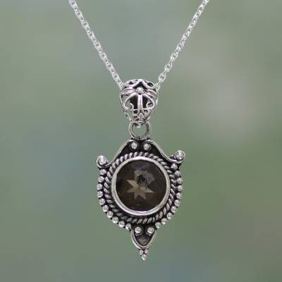 Smoky quartz and sterling silver pendant necklace from india smoky quartz pendant necklace dotted elegance smoky quartz and sterling silver pendant aloadofball Image collections