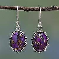 Sterling silver dangle earrings, 'Exotic Ovals' - Sterling Silver and Purple Turquoise Earrings from India