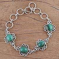 Malachite link bracelet, 'Lush Connection' - Malachite Swirling Link Bracelet Crafted in India