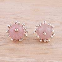 Rose quartz stud earrings, 'Rose Grace' - Rose Quartz and Sterling Silver Stud Earrings from India