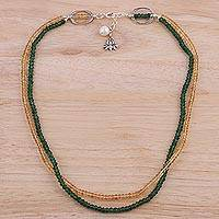 Aventurine and citrine beaded necklace, 'Lotus Mystique' - Aventurine Citrine and Cultured Pearl Beaded Necklace