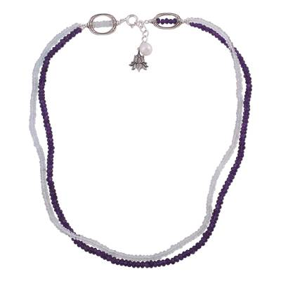 Amethyst Aquamarine and Cultured Pearl Beaded Necklace