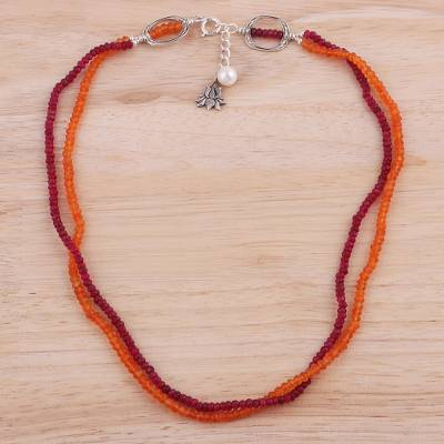 Ruby and carnelian beaded necklace, 'Lotus Fire' - Ruby Carnelian and Cultured Pearl Beaded Necklace from India