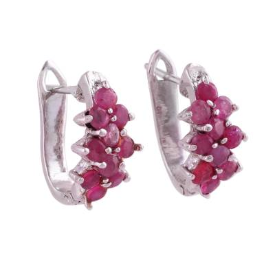 Ruby hoop earrings, 'Red Hyacinth' - Red Ruby and Sterling Silver Half Hoop Earrings from India